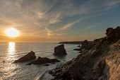 Rock Formation On The South West Coastline In Cornwall , Uk poster