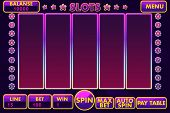 Vector Interface Slot Machine In Purple Colored. Complete Menu Of Graphical User Interface And Full  poster