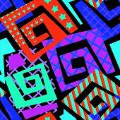 Abstract Geometrical Seamless Rough Grunge Pattern, Modern Design Template. poster