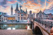 Panoramic View Of The Historic City Center Of Ghent With Leie River Illuminated In Beautiful Twiligh poster