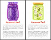 Preserved Food Posters, Blueberry And Cucumber With Garlic, Greenery. Jar Of Vegetables Or Berries I poster