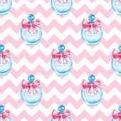 Bottle Fragrance Perfume, Watercolor Pink Seamless Pattern poster