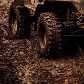 Extreme 4x4 Auto Adventure. Car Wheels On Steppe Terrain Splashing With Dirt. Car Racing Offroad. Of poster