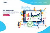 Seo Optimization Modern Flat Design Gradients Concept. Search Engine And People Concept. Landing Pag poster