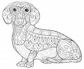 Adult Coloring Book,page A Cute Dog Image For Relaxing.zen Art Style Illustration. poster