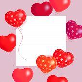 Hearts Air Balloons. Vector Holiday Illustration Of Soaring Balloon Hearts And Paper Banner. Happy V poster