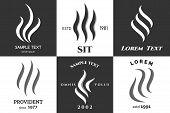 Steam Logo Set. Heat Smell, Aroma Vapor Or Steams Emblems Vector Illustration, Steaming Marks poster