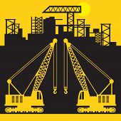 Crane, Construction Power Machinery, Crane Tractor Sign Or Symbol, Vector Illustration poster