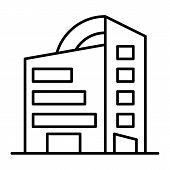 Rounded Skyscrapers Thin Line Icon. Office Building With Rounded Roof Vector Illustration Isolated O poster