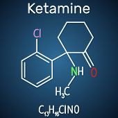 Ketamine Molecule. It Is Used For Anesthesia In Medicine. Structural Chemical Formula And Molecule M poster