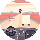 Self-driving Truck In A Circle. Drived By Robot, Vector Illustration poster