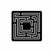 Path In The Maze Black Icon, Vector Sign On Isolated Background. Path In The Maze Concept Symbol, Il poster