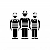 Production Team Black Icon, Vector Sign On Isolated Background. Production Team Concept Symbol, Illu poster