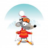 cartoon Mouse on the Ski