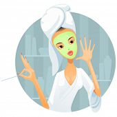 vector illustration of girl with face mask