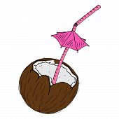 Cocktail In A Coconut Icon. Vector Illustration Of A Broken Coconut With A Decorative Umbrella For C poster