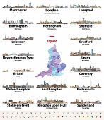 England Largest Cities Skylines Icons Vector Set. Map And Flag Of England. poster