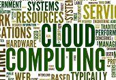 Wolke computing Konzept in Wort Tag-Wolke auf weißem Hintergrund