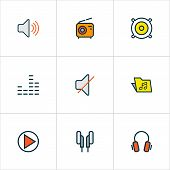 Audio Icons Colored Line Set With Headphone, Radio, Equalizer And Other Play  Elements. Isolated Vec poster