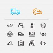 Auto Icons Set. City Street And Auto Icons With App Map, Auto Car And Mobile Payment. Set Of Positio poster