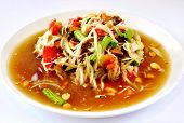 stock photo of thai food  - thai papaya salad hot and spicy mixed from variety of vegetable - JPG