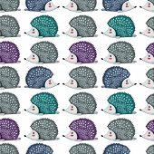 Seamless Pattern With Llazy Hedgehog. Lazy Animal. Watercolor poster