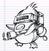 Notebook Sketch Doodle Penguin Commando Drawing Vector Illustration Art poster