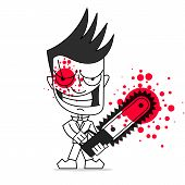 Killer With Chainsaw Vector Illustration On White Background. poster