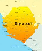 stock photo of freetown  - Abstract vector color map of Sierra Leone country - JPG