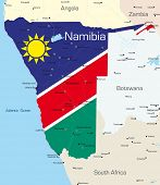Abstract vector color map of Namibia country colored by national flag