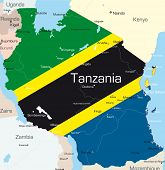 Abstract vector color map of Tanzania country colored by national flag