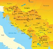 stock photo of yugoslavia  - Vector color map of Balkan region - JPG