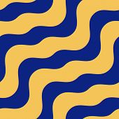 Diagonal Wavy Lines Seamless Pattern. Vector Abstract Liquid Surface Texture. Simple Navy Blue And Y poster