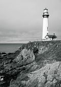 Pigeon Point Lighthouse On Northern California Coastline In A Black And White High Contrast Landscap poster