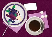 Vector illustration of cup of coffee and cheesecake.