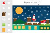 How Many Counting Game With Christmas Picture For Kids, Educational Maths Task For The Development O poster