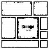 Set Of Grunge Square Frames. Empty Border Background. Hand Draws Black And White Ink. Distress Damag poster