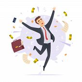 Happy Businessman. Jumping Proffesional Successful Young Office Manager Male Vector Cartoon Illustra poster