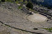 image of olympic stadium construction  - theater of the archeological site of Delphi Greece - JPG