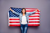 Cute Sweet Lovely Confident Smiling Student Lady Emigrant Holding Usa American Flag Behind Back, Wea poster