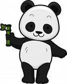 Illustratie met het vooraanzicht van een Giant Panda houden een bamboe Shoot
