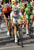 BARCELONA - AUG, 26: Argos-Shimano German cyclist Simon Geschke rides with the pack during the Vuelt