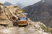 Manali-Leh road in Indian Himalayas with lorry. Himachal Pradesh, India