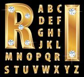 vector illustration of the golden alphabet with diamonds