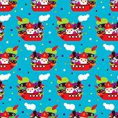 Seamless sinterklaas zwarte Piet dutch traditional kids holiday background pattern in vector