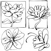 An image of an abstract leaky pen flower set drawing.