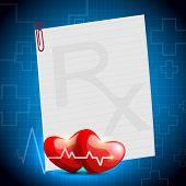 Cardiograma con forma de corazón rojo sobre fondo azul. EPS 10.