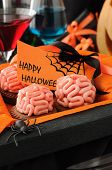 Cookies With Marzipan Brains For Halloween