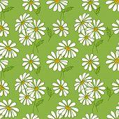 Green seamless daisy pattern.
