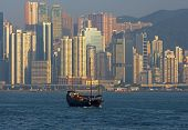 picture of urbanisation  - View from Kowloon at the skyscrapers of Hong Kong Island Hong Kong - JPG